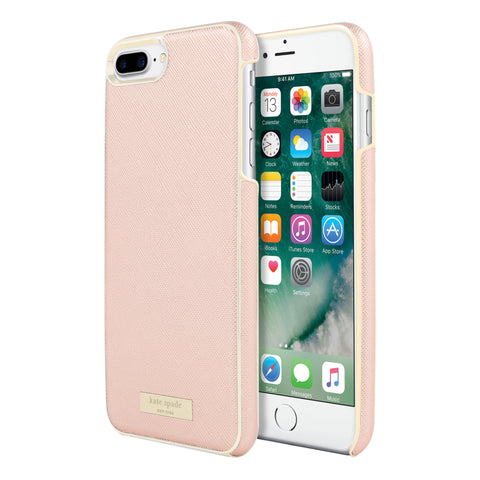 Shop Kate Spade New York Wrap Case for iPhone 7 Plus - Saffiano rose gold/Gold logo plate Cases & Covers from Kate Spade New York