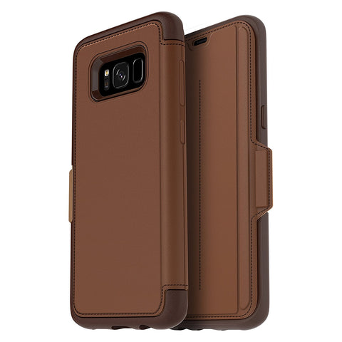 OTTERBOX STRADA PREMIUM LEATHER FOLIO CASE FOR SAMSUNG GALAXY S8+ (6.2 inch) - BURNT SADDLE