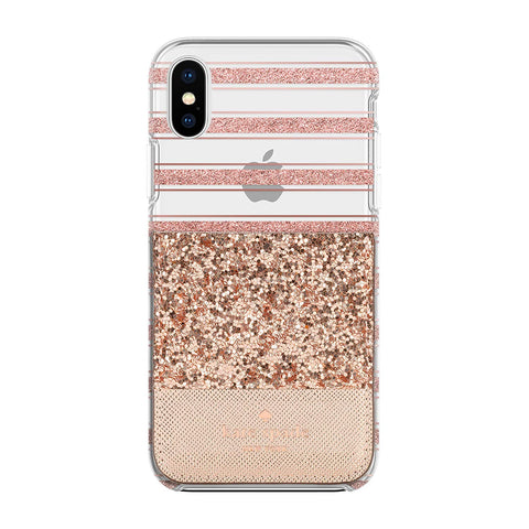 Shop KATE SPADE NEW YORK STICKER POCKET FOR CASES - ROSE GOLD GLITTER SAFFIANO Cases & Covers from Kate Spade New York