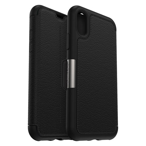 Shop OTTERBOX STRADA LEATHER CARD FOLIO CASE FOR IPHONE XS/X - BLACK (SHADOW) Cases & Covers from Otterbox