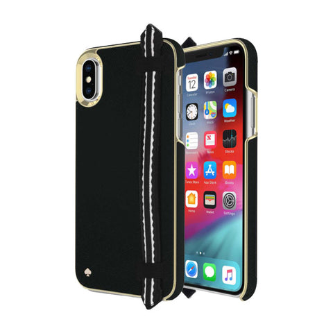 Shop KATE SPADE NEW YORK WRAP STRAP CASE FOR IPHONE XS MAX - SAFFIANO BLACK/GOLD Cases & Covers from Kate Spade New York