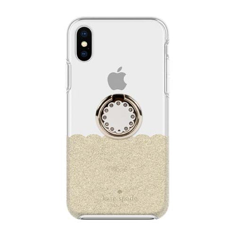 Shop KATE SPADE NEW YORK GIFT SET PROTECTIVE CASE & RING STAND FOR IPHONE XS/X - SCALLOP GOLD GLITTER/CLEAR  from Syntricate Asia