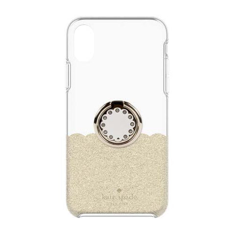 Shop KATE SPADE NEW YORK GIFT SET PROTECTIVE CASE & RING STAND FOR IPHONE XR - SCALLOP GOLD GLITTER/CLEAR Cases & Covers from Kate Spade New York