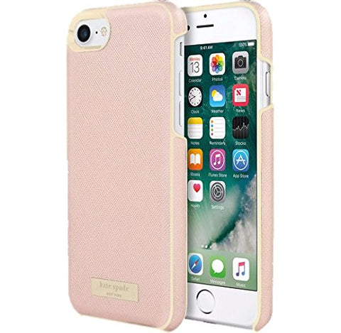 Shop Kate Spade New York Wrap Case for iPhone 7 - Saffiano rose gold/Gold logo plate Cases & Covers from Kate Spade New York