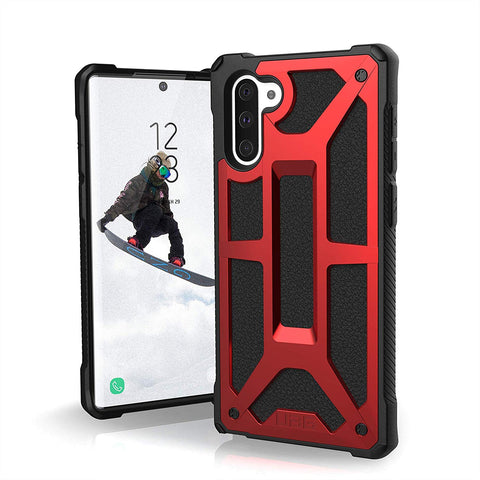 Shop UAG MONARCH HANDCRAFTED LEATHER RUGGED CASE FOR GALAXY GALAXY NOTE 10 (6.3-INCH) - CRIMSON Cases & Covers from UAG