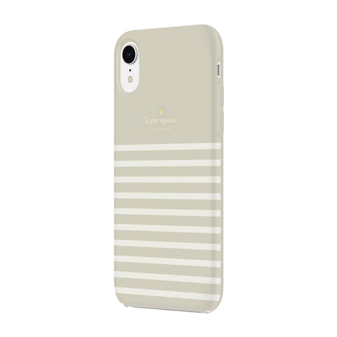 Shop KATE SPADE NEW YORK PROTECTIVE HARDSHELL CASE FOR IPHONE XR - STRIPE CREAM/GOLD LOGO  from Syntricate Asia