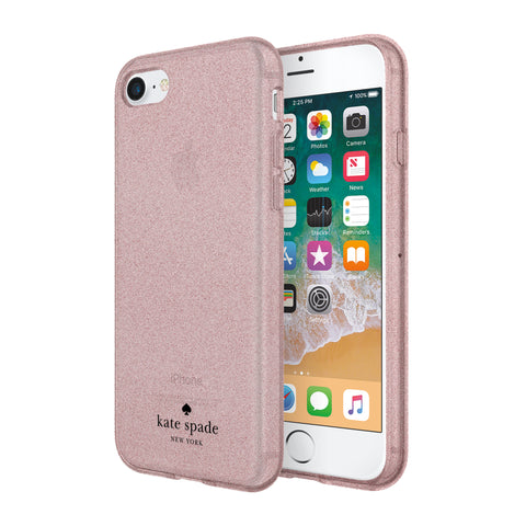 Shop KATE SPADE NEW YORK FLEXIBLE GLITTER CASE FOR iPHONE 8/7/6S - ROSE GOLD Cases & Covers from Kate Spade New York