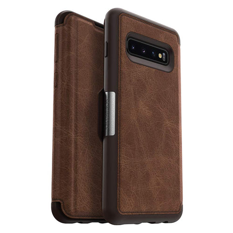Shop OTTERBOX STRADA LEATHER FOLIO CASE FOR SAMSUNG GALAXY S10 (6.1-INCH) - ESPRESSO Cases & Covers from Otterbox