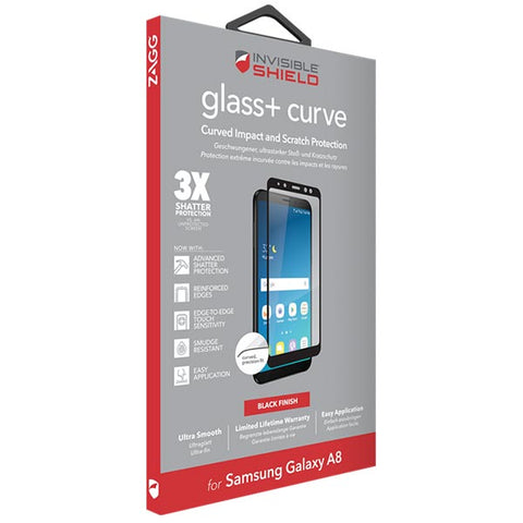 Shop ZAGG INVISIBLESHIELD GLASS CURVE TEMPERED SCREEN PROTECTOR FOR SAMSUNG GALAXY A8 (2018) - BLACK Screen Protector from Zagg