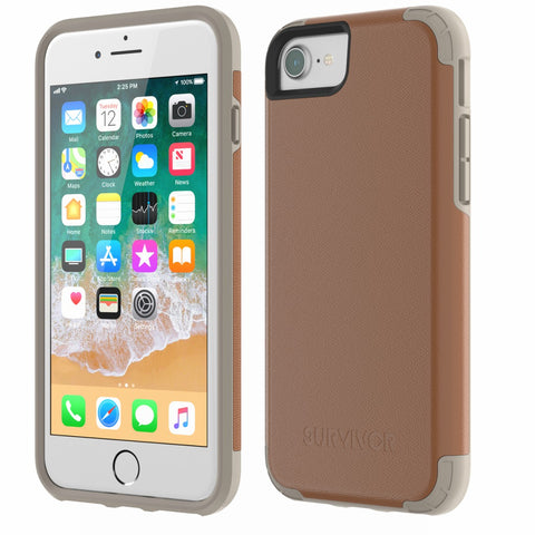 Shop GRIFFIN SURVIVOR PRIME LEATHER CASE FOR iPHONE 8/7/6S - BROWN Cases & Covers from Griffin