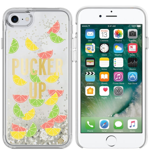 Shop KATE SPADE NEW YORK LIQUID GLITTER CASE FOR IPHONE 8 PLUS/7 PLUS - PUCKER UP/SILVER FOIL GLITTER/CITRUS SLICE Cases & Covers from Kate Spade New York