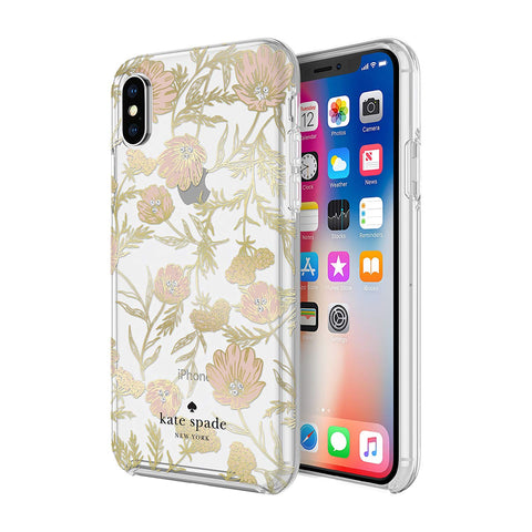 Shop KATE SPADE NEW YORK PROTECTIVE HARDSHELL CASE FOR IPHONE XS/X - BLOSSOM PINK/GOLD/GEMS  from Syntricate Asia