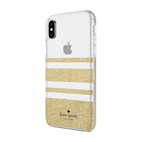 Shop KATE SPADE NEW YORK PROTECTIVE HARDSHELL CASE FOR IPHONE XS/X - STRIPE GOLD GLITTER Cases & Covers from Kate Spade New York