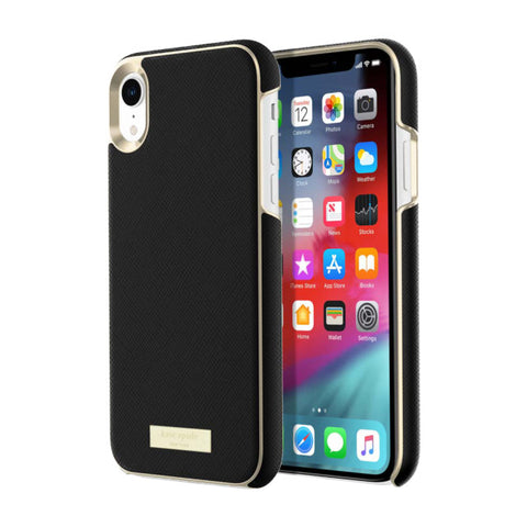 Shop KATE SPADE NEW YORK WRAP STRAP CASE FOR IPHONE XR - SAFFIANO BLACK/GOLD Cases & Covers from Kate Spade New York