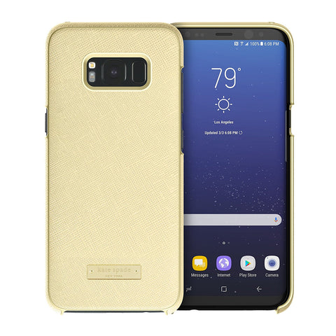 Shop KATE SPADE NEW YORK WRAP PROTECTIVE CASE FOR GALAXY S8+ (6.2 inch) - SAFFIANO GOLD / GOLD LOGO PLATE Cases & Covers from Kate Spade New York