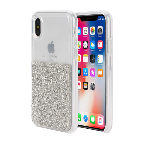 Shop KATE SPADE NEW YORK HALF CLEAR CRYSTAL CASE FOR IPHONE XS/X - SILVER Cases & Covers from Kate Spade New York
