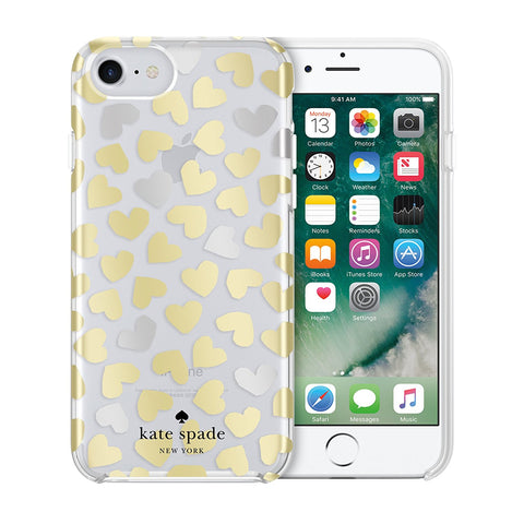 Shop KATE SPADE NEW YORK PROTECTIVE HARDSHELL CASE FOR iPHONE 8/7/6S - DANCING HEART/CLEAR/SILVER/GOLD FOIL Cases & Covers from Kate Spade New York