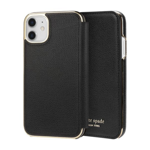 "KATE SPADE NEW YORK Inlay Folio Wallet Case For iPhone 11 (6.1"") -Black"