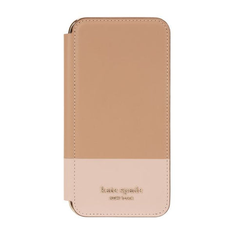 "Shop KATE SPADE NEW YORK Inlay Folio Wallet Case For iPhone 11 Pro (5.8"") - Tan/Pale Vellum Cases & Covers from Kate Spade New York"