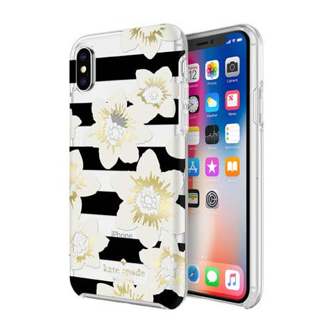 Shop KATE SPADE NEW YORK PROTECTIVE HARDSHELL CASE FOR IPHONE XS/X - GARDEN BLOOM BLACK/GOLD/GEM  from Syntricate Asia