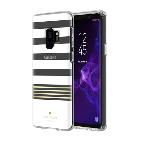 Shop KATE SPADE NEW YORK PROTECTIVE HARDSHELL CASE FOR GALAXY S9 -CLEAR/GOLD FOIL/STRIPE 2 WHITE Cases & Covers from Kate Spade New York