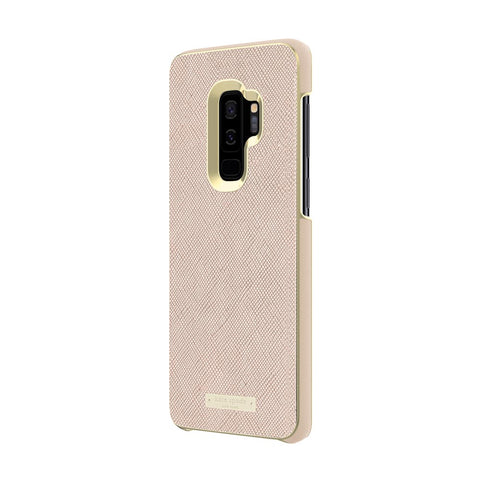 Shop KATE SPADE NEW YORK WRAP INLAY CASE FOR GALAXY S9 PLUS - SAFFIANO ROSE GOLD/GOLD LOGO PLATE Cases & Covers from Kate Spade New York