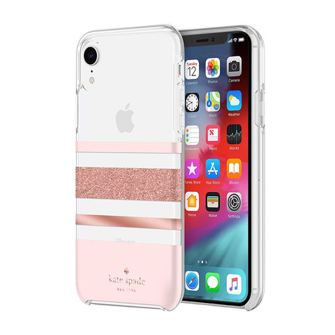 Shop KATE SPADE NEW YORK PROTECTIVE HARDSHELL CASE FOR IPHONE XR - CHARLOTTE STRIPE ROSE GOLD Cases & Covers from Kate Spade New York