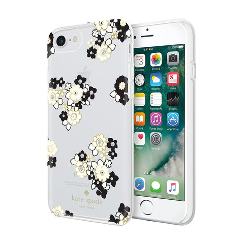 Shop KATE SPADE NEW YORK PROTECTIVE HARDSHELL CASE FOR iPHONE 8/7/6S - FLORAL BURST CLEAR/BLACK/GEMS Cases & Covers from Kate Spade New York