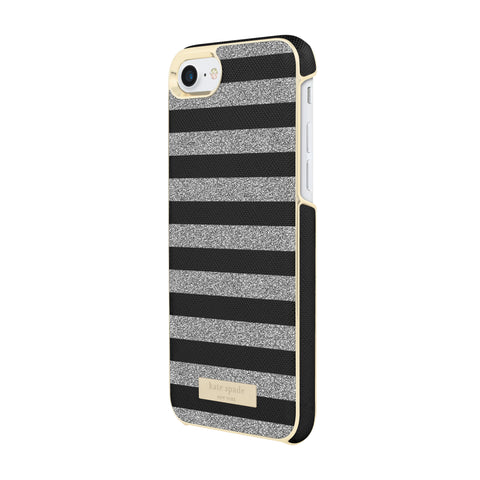 Shop KATE SPADE NEW YORK WRAP GLITTER STRIPE CASE FOR iPHONE 8/7- BLACK SAFFIANO/SILVER Cases & Covers from Kate Spade New York
