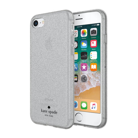 Shop KATE SPADE NEW YORK FLEXIBLE GLITTER CASE FOR iPHONE 8/7/6S - SILVER Cases & Covers from Kate Spade New York