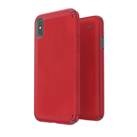 Shop SPECK PRESIDIO CARD FOLIO CASE FOR IPHONE XS MAX - RED/GREY  from Syntricate Asia