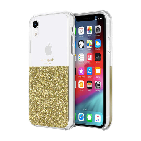 Shop KATE SPADE NEW YORK HALF CLEAR CRYSTAL CASE FOR IPHONE XR - GOLD Cases & Covers from Kate Spade New York