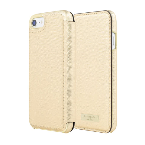 Shop Kate Spade New York Card Folio Case for iPhone 8/7 - Saffiano Gold Cases & Covers from Kate Spade New York