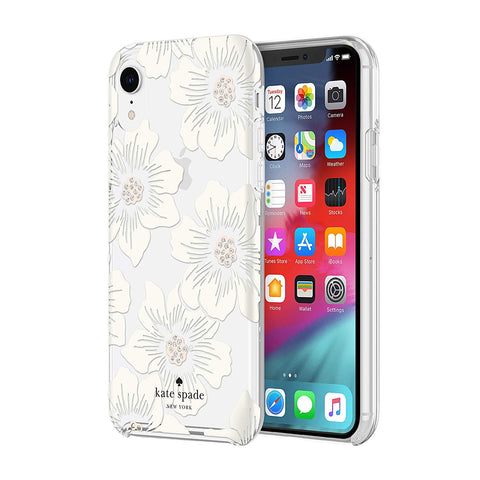 Shop KATE SPADE NEW YORK PROTECTIVE HARDSHELL CASE FOR IPHONE XR - HOLLYHOCK FLORAL Cases & Covers from Kate Spade New York