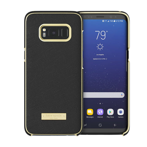 Shop KATE SPADE NEW YORK WRAP PROTECTIVE CASE FOR GALAXY S8+ (6.2 inch) - SAFFIANO BLACK / GOLD LOGO PLATE Cases & Covers from Kate Spade New York