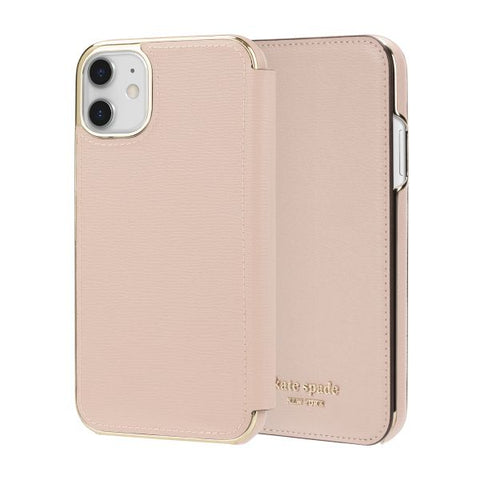 "Shop KATE SPADE NEW YORK Inlay Folio Wallet Case For iPhone 11 (6.1"") - Pale Vellum Cases & Covers from Kate Spade New York"