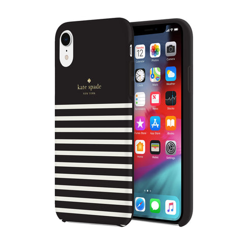 Shop KATE SPADE NEW YORK PROTECTIVE HARDSHELL CASE FOR IPHONE XR - STRIPE BLACK/CREAM/GOLD LOGO  from Syntricate Asia