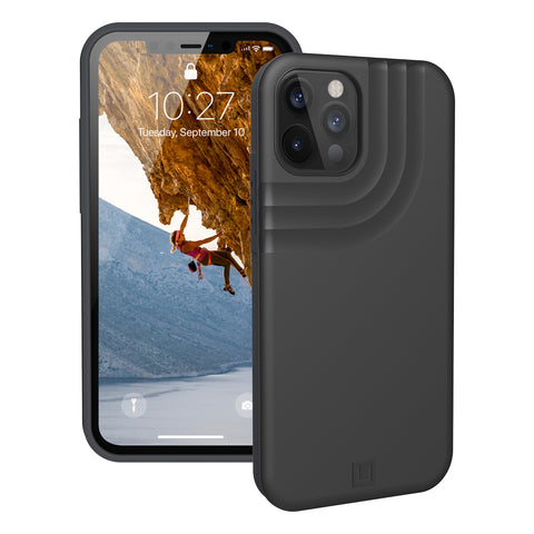 black minimalist rugged case for iphone 12 pro max from UAG comes with free express Australia shopping & local warranty.