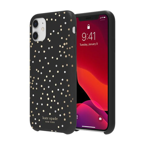 "Shop KATE SPADE NEW YORK Hardshell Soft Touch Case for iPhone 11 (6.1"") - Disco Dots Cases & Covers from Kate Spade New York"