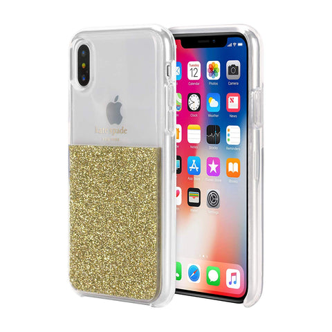 Shop KATE SPADE NEW YORK HALF CLEAR CRYSTAL CASE FOR IPHONE XS/X - GOLD Cases & Covers from Kate Spade New York
