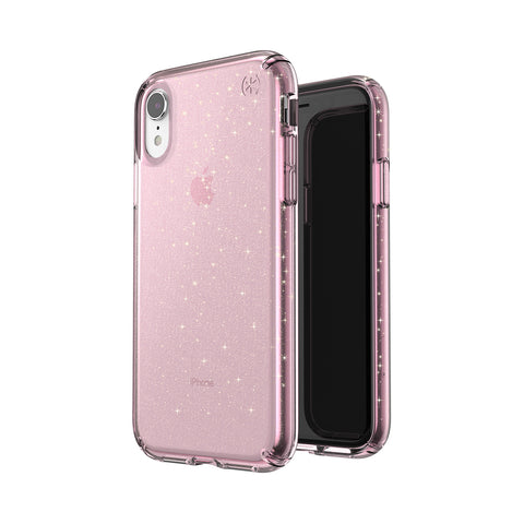 Shop SPECK PRESIDIO CLEAR GLITTER IMPACTIUM CASE FOR iPHONE XR - BELLA PINK/GOLD  from Syntricate Asia