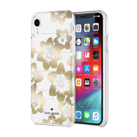 Shop KATE SPADE NEW YORK PROTECTIVE HARDSHELL CASE FOR IPHONE XR - GARDEN BLOOM GOLD/CRYSTAL/CLEAR Cases & Covers from Kate Spade New York