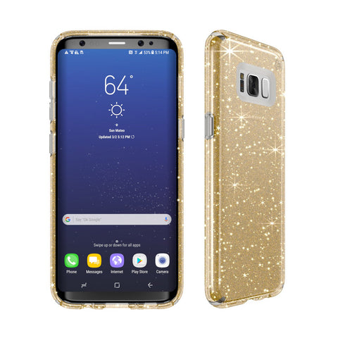 Shop SPECK PRESIDIO IMPACTIUM CLEAR + GLITTER CASES SAMSUNG GALAXY S8+ PLUS - GOLD GLITTER  from Syntricate Asia