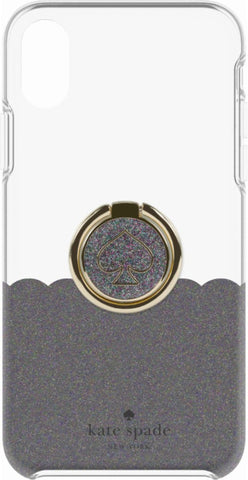 Shop KATE SPADE NEW YORK GIFT SET PROTECTIVE CASE & RING STAND FOR IPHONE XR - SCALLOP BLACK MULTI GLITTER/CLEAR Cases & Covers from Kate Spade New York