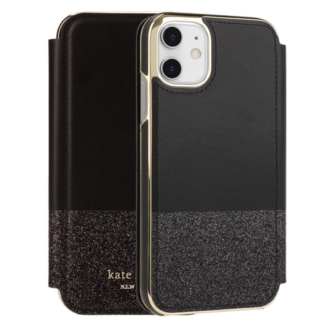 "Shop KATE SPADE NEW YORK Inlay Folio Wallet Case For iPhone 11 (6.1"") - Black Munera Cases & Covers from Kate Spade New York"