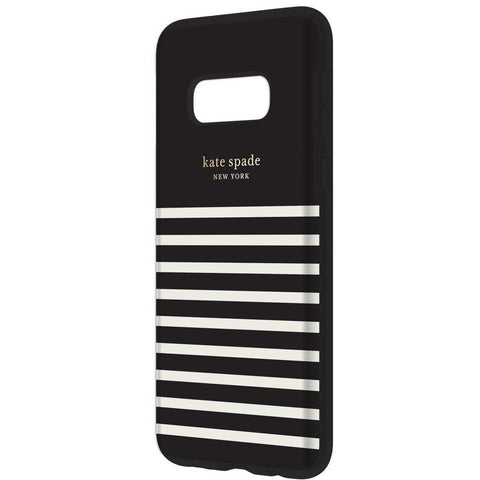 Shop KATE SPADE NEW YORK HARDSHELL CASE FOR GALAXY S10E (5.8-INCH) - STRIPE BLACK/CREAM Cases & Covers from Kate Spade New York