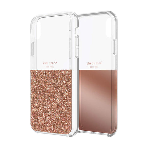 Shop KATE SPADE NEW YORK HALF CLEAR CRYSTAL CASE FOR IPHONE XR - ROSE GOLD  from Syntricate Asia