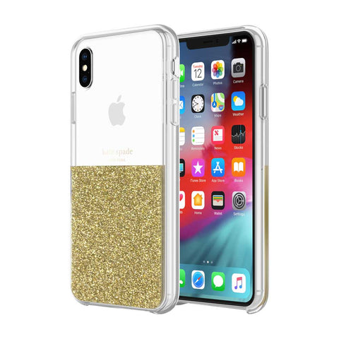 Shop KATE SPADE NEW YORK HALF CLEAR CRYSTAL CASE FOR IPHONE XS MAX - GOLD  from Syntricate Asia