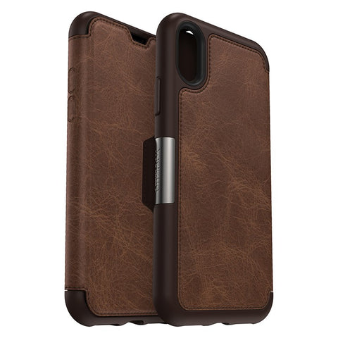 Shop OTTERBOX STRADA LEATHER CARD FOLIO CASE FOR IPHONE XS MAX - ESPRESSO Cases & Covers from Otterbox