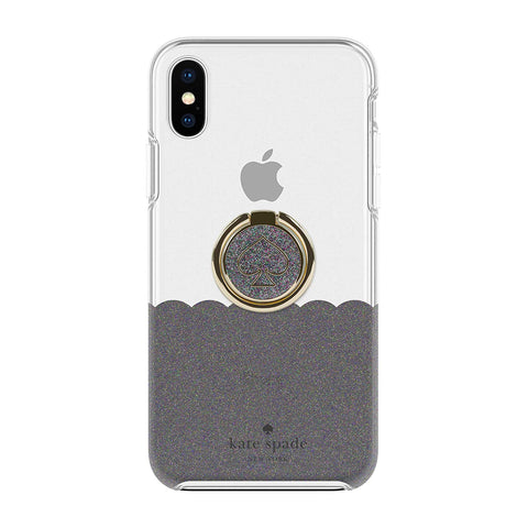Shop KATE SPADE NEW YORK GIFT SET PROTECTIVE CASE & RING STAND FOR IPHONE XS/X - SCALLOP BLACK MULTI/CLEAR  from Syntricate Asia